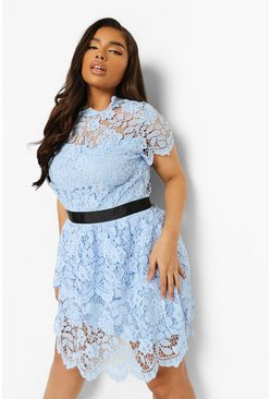 Pastel blue blue Plus Occasion Lace Tiered Skater Dress