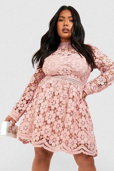 Blush pink Plus Premium Guipure Lace Skater Dress