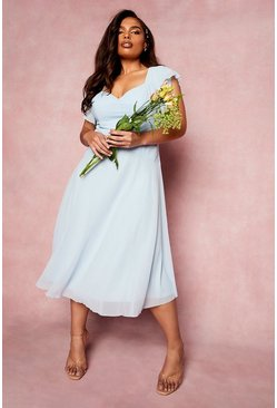 Pastel blue blue Plus Occasion Angel Sleeve Chiffon Midi Dress