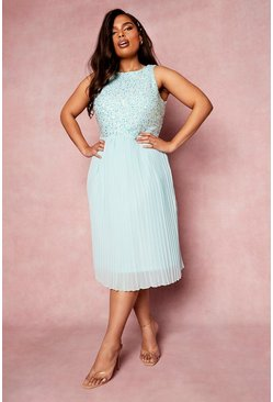 Pastel blue blue Plus Occasion Sequin Contrast Midi Dress