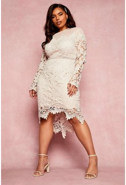 Cream white Plus Occasion Embroidered Floral Midi Dress