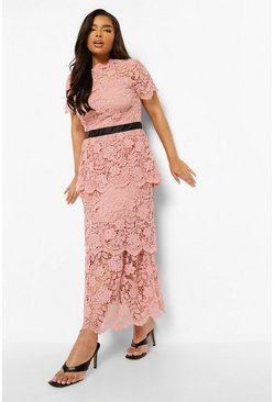 Blush Plus Occasion Lace Tiered Midaxi Dress