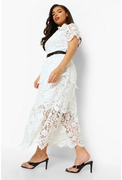 Ivory white Plus Occasion Lace Tiered Midaxi Dress