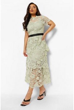 Pale green green Plus Occasion Lace Tiered Midaxi Dress