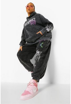 Charcoal grey Plus Oversized Acid Wash Graffiti Tracksuit