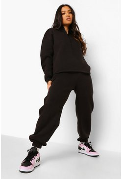 Black Petite Woman Embroidered Half Zip Tracksuit