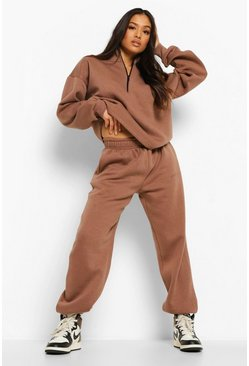 Taupe beige Petite Woman Embroidered Half Zip Tracksuit