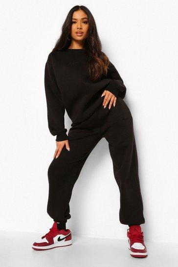 Black Petite Woman Embroidered Sweatshirt Tracksuit