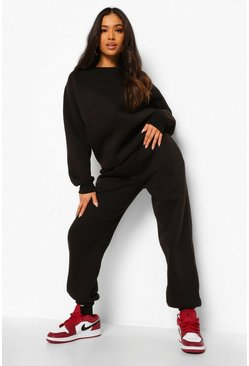 Black Petite Woman Embroidered Sweatshirt Tracksuit