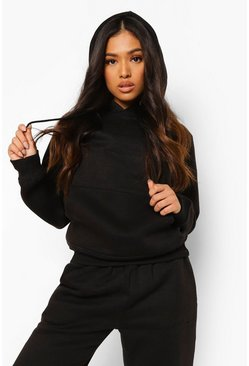 Black Petite Woman Embroidered Hoody Tracksuit