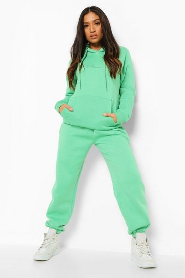 Green Petite Woman Embroidered Hoody Tracksuit