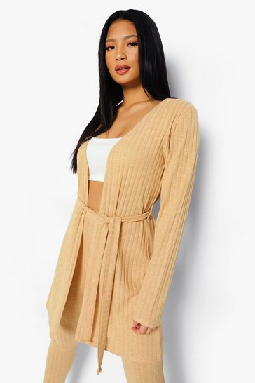 Sand beige Petite Soft Knitted Rib Belted Cardigan