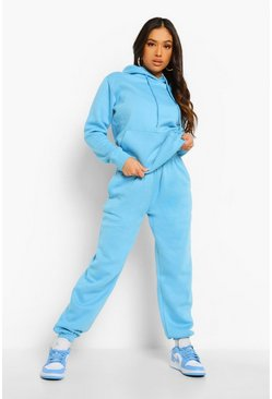 Blue Petite Basic Hoody And Jogger Tracksuit