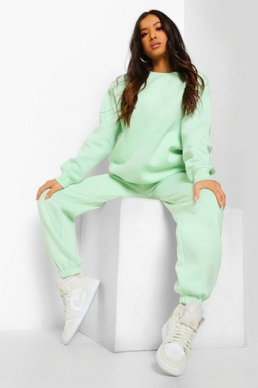 Mint green Petite Basic Sweatshirt And Jogger Tracksuit