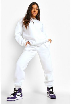 White Petite Basic Sweatshirt And Jogger Tracksuit