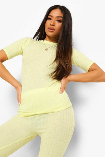 Lime green Petite Soft Knitted Rib Crew Neck Fitted Top