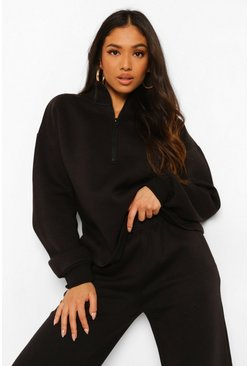 Black Petite Zip Through Sweat And Jogger Tracksuit