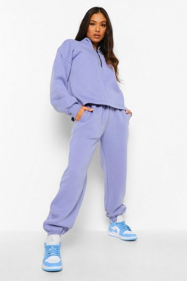 Purple Petite Zip Through Sweat And Jogger Tracksuit