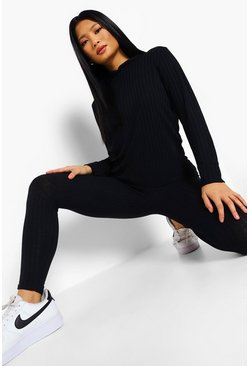 Black Petite Soft Knitted Rib Hoody Co-ord