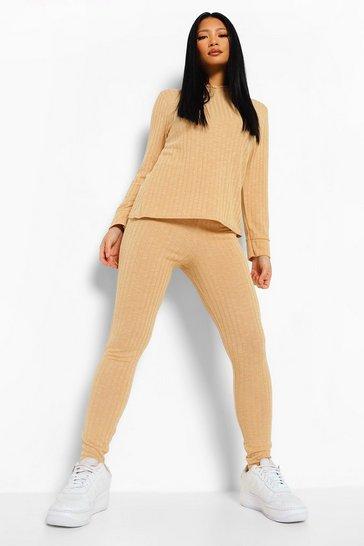 Camel beige Petite Soft Knitted Rib Hoody Co-ord