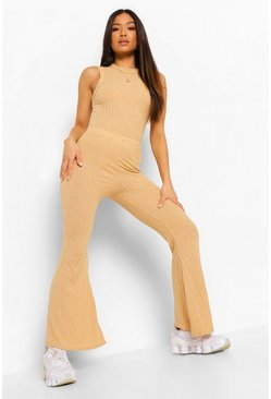 Camel beige Petite Soft Knitted Rib Flare Trouser