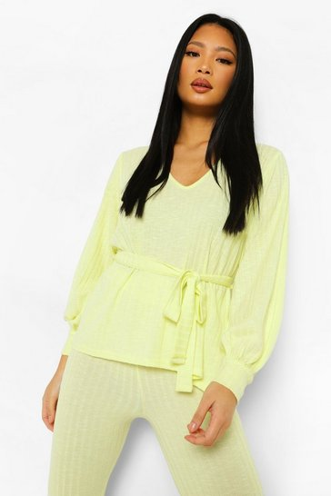 Lime green Petite Soft Knitted Rib Belted Top Co-ord