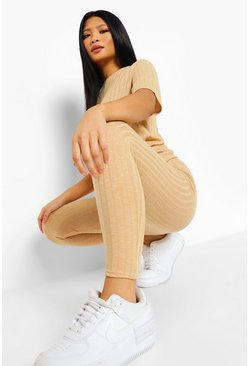 Sand beige Petite Soft Knitted Rib T-Shirt Two-Piece