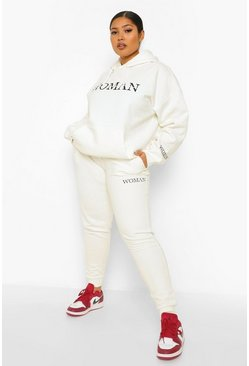 Ecru white Plus Woman Print Hooded Tracksuit