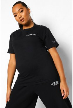 Black Plus Woman Print T-shirt & Jogger Set