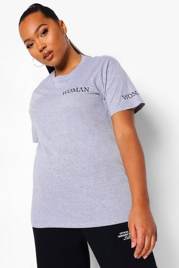 Grey Plus Woman Print T-Shirt & Jogger Set