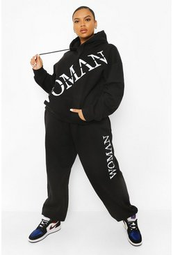 Black Plus Woman Front Print Hooded Tracksuit