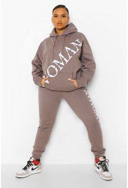 Charcoal grey Plus Woman Front Print Hooded Tracksuit