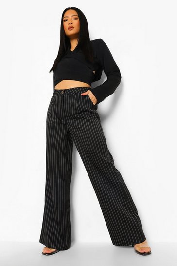 Black Petite Wide Leg Pinstripe Trouser