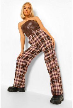 Brown Petite Check Wide Leg Trousers