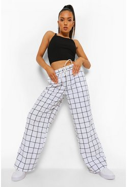 White Petite Check Wide Leg Trousers