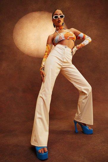 Ivory white Petite Pu Seam Detail Wide Leg Trouser