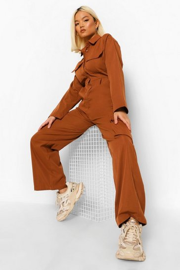 Rust orange Petite Cargo Utility Boiler Jumpsuit