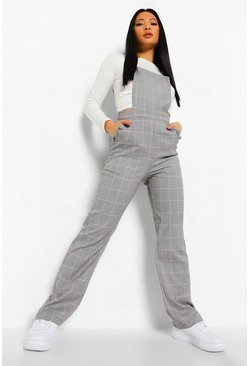 Grey Petite Check Pinafore Jumpsuit