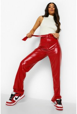 Berry red Petite High Waist Belted Vinyl Trousers