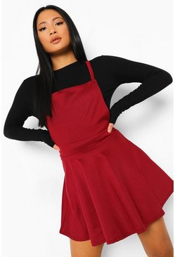 Berry red Petite Cross Back Pinafore Dress