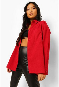 Berry red Petite Oversized Cord Shirt