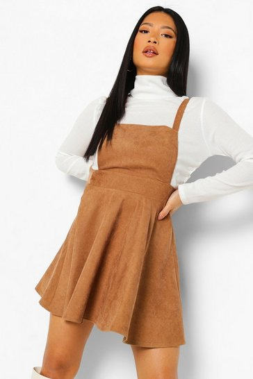 Stone beige Petite Cord Pinafore Dress