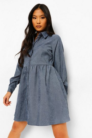 Denim-blue blue Petite Long Sleeve Cord Skater Dress