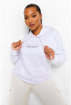 White Plus Woman Embroidered Oversized Hoodie
