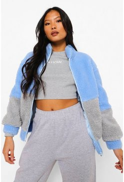 Blue Petite Colourblock Teddy Bomber Jacket