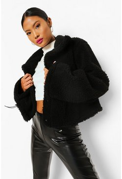 Black Petite High Neck Teddy Crop Jacket