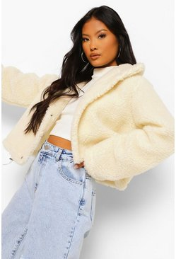 Ivory white Petite High Neck Teddy Crop Jacket
