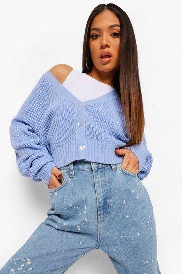 Cornflower blue Petite Crop Knitted Button Cardigan