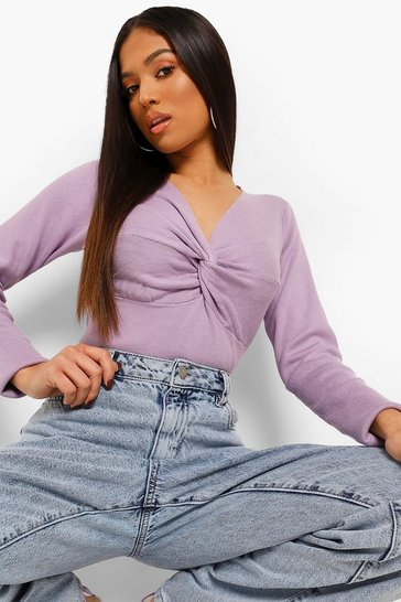 Mauve purple Petite Knot Front Knitted Top