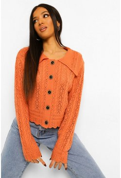 Burnt orange orange Petite Knitted Collar Detail Cardigan